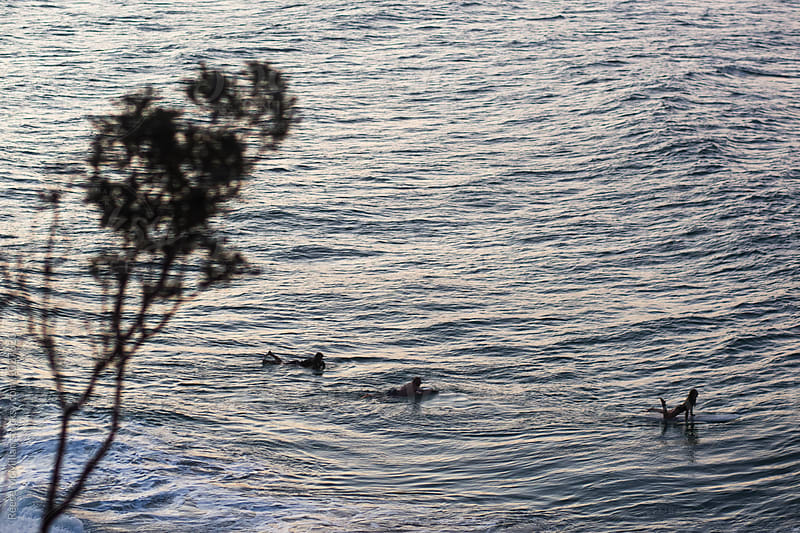 Surfers paddling out at Byron Bay by Reece McMillan for Stocksy United