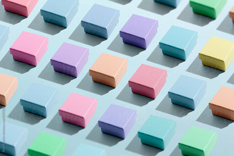 Colored Boxes In Perfect Rows by Sean Locke for Stocksy United