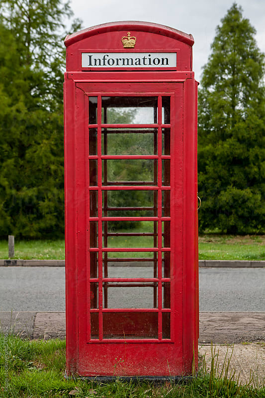 Repurposed public telephone box, now used as an information booth by kkgas for Stocksy United