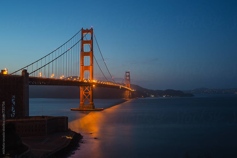 View of Golden Gate Bridge after sunset by michela ravasio for Stocksy United