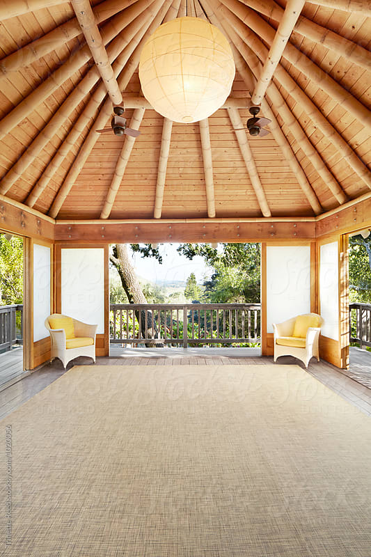 Japanese outdoor yoga room by Trinette Reed for Stocksy United