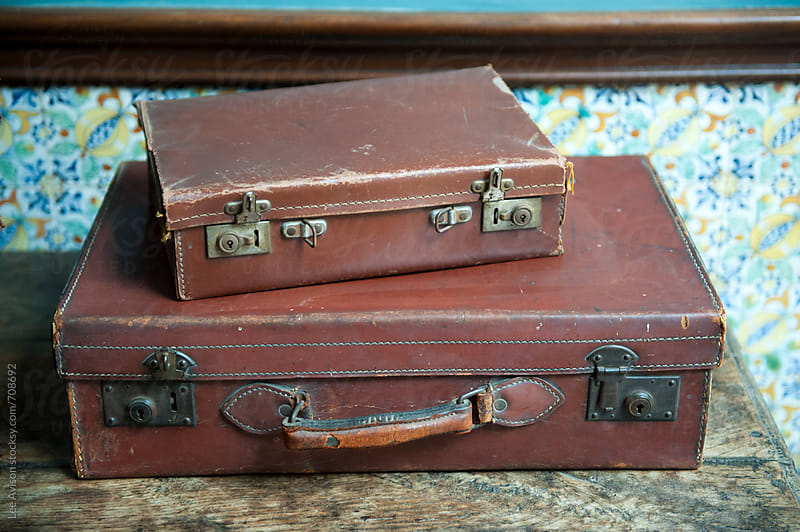 brown vintage leather suitcases by Lee Avison for Stocksy United