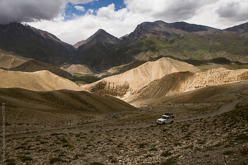 Jeep ride on the way to Lo Manthang. by Shikhar Bhattarai for Stocksy United