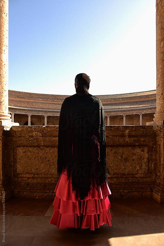 Flamenco dancer in Carlos V Palace, Granada by Bisual Studio for Stocksy United