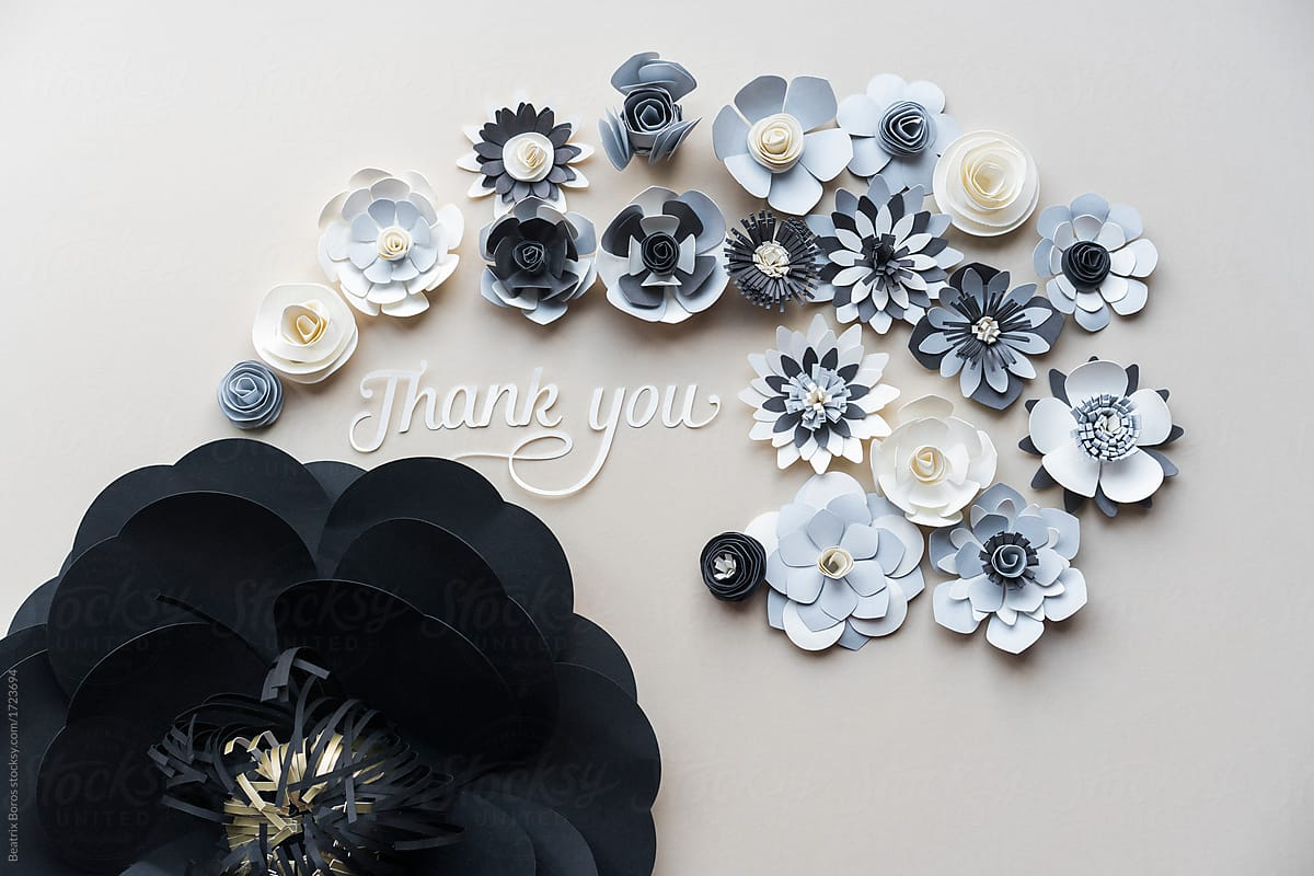 Paper Flowers With Thank You Message Stocksy United