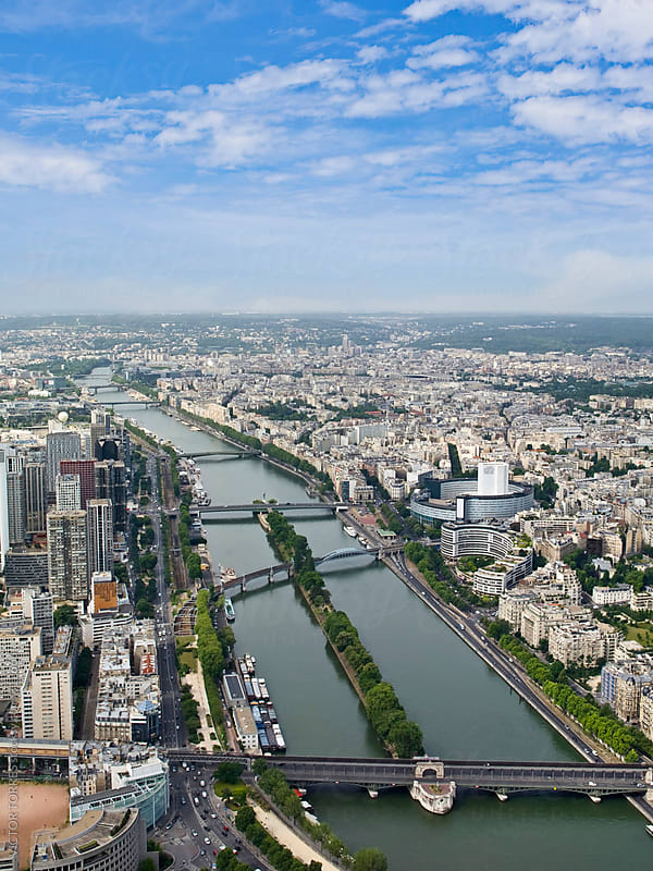 Aerial View of Seine River, Paris by Victor Torres for Stocksy United