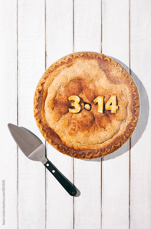 Pi: Cherry Pie With Pie Slicer On Wooden Background by Sean Locke for Stocksy United