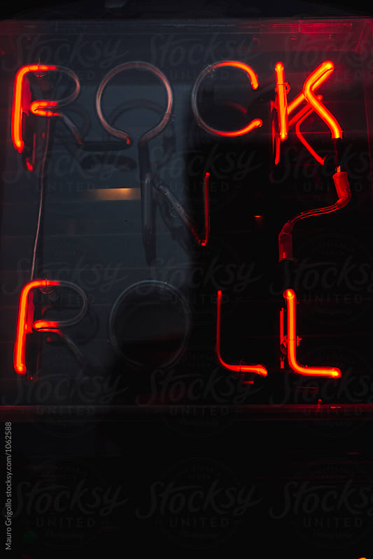 Rock'n'Roll sign. Live Music Bar. by Mauro Grigollo for Stocksy United