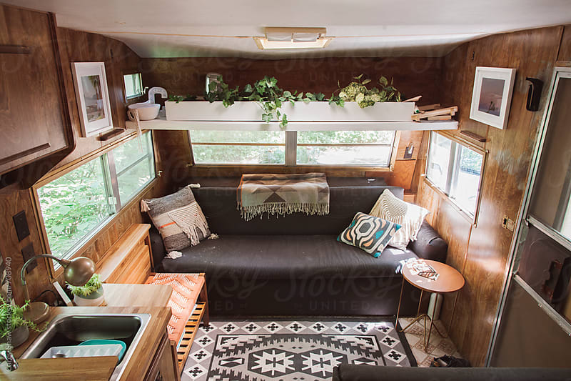 Modern decor in camper trailer by Carey Shaw for Stocksy United
