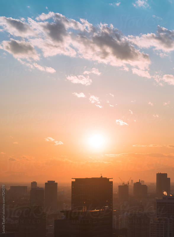 Setting Sun Over Tokyo Japan by Leslie Taylor for Stocksy United