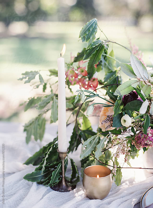 Florals and Candle light  by Vicki Grafton Photography for Stocksy United