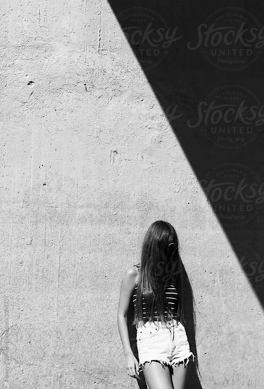 young woman , minimal summer portrait by Vesna for Stocksy United