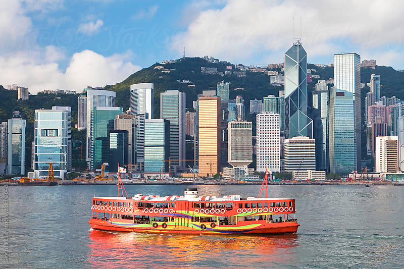 Victoria Harbour, Hong Kong Island with Central skyline beyond, Hong Kong, China, Asia by Gavin Hellier for Stocksy United