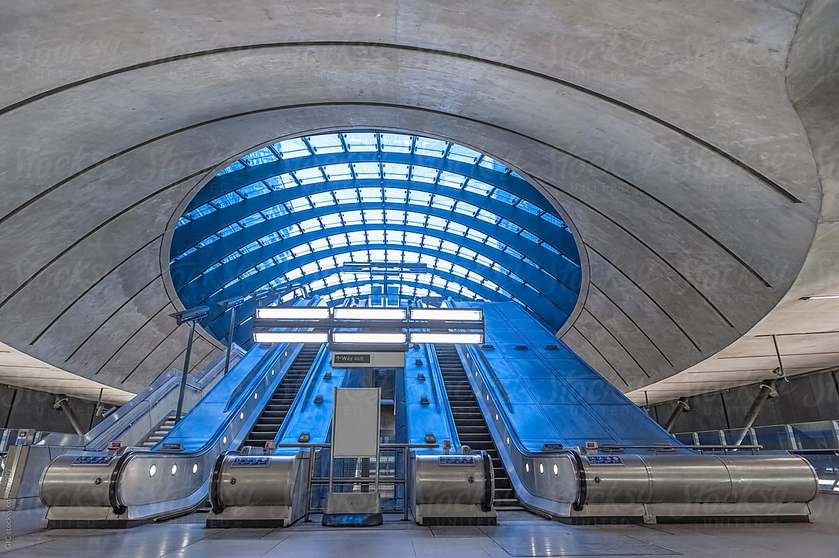Contemporary architecture of Canary Wharf subway in London by Simone Wave -  Stocksy United