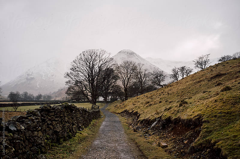 Snow blizzard and footpath to a remote cottage. Cumbria, UK. by Liam Grant for Stocksy United