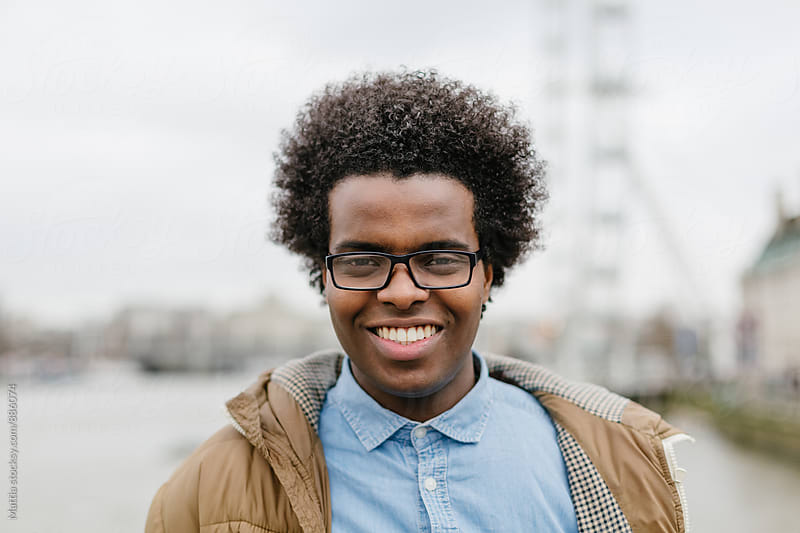 Young Black Man Smiling Portrait by HEX. for Stocksy United