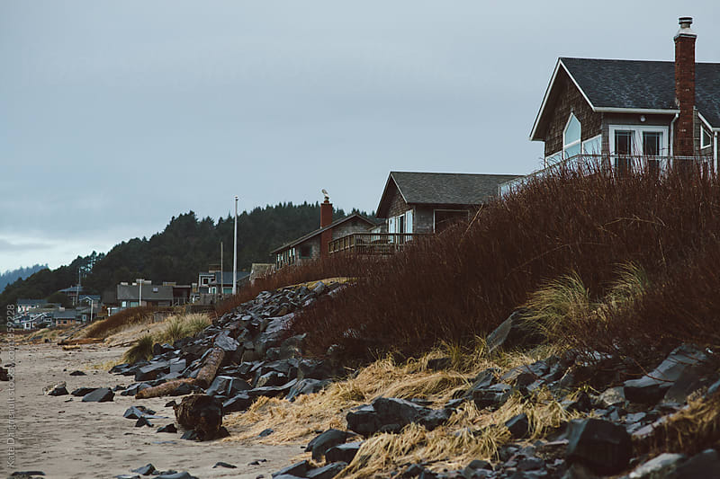 Row of beach houses at the Oregon Coast by Kate Daigneault for Stocksy United