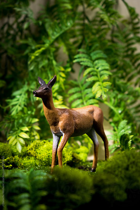 A doe deer in a diorama forest by J Danielle Wehunt for Stocksy United