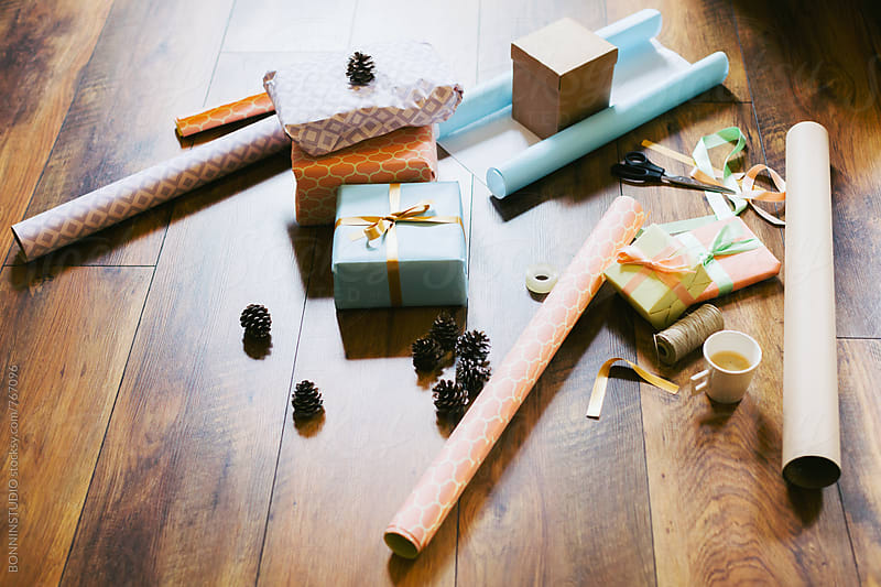 Objects for wrapping Christmas presents. by BONNINSTUDIO for Stocksy United