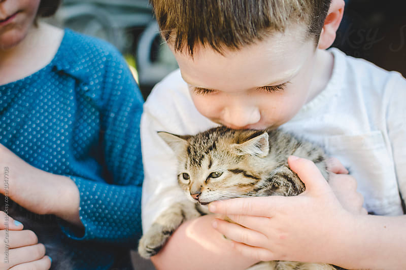 Little boy kissing a kitten while sitting next to his sister by Lindsay Crandall for Stocksy United