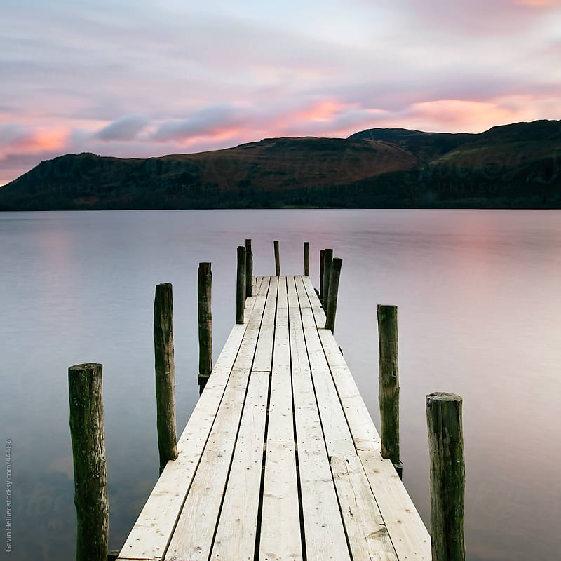 Brandelhow Bay jetty at dawn, Derwentwater, Keswick, Lake District National Park, Cumbria, England, UK by Gavin Hellier for Stocksy United