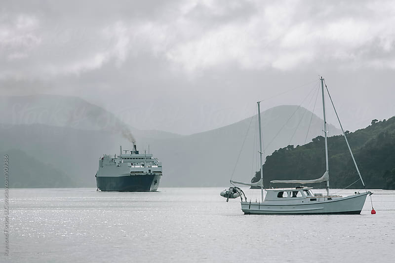 Ferry Arriving at Port Nelson by Raymond Forbes LLC for Stocksy United