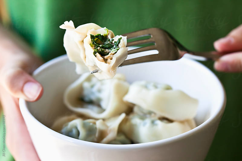 Homemade Pork and Spinach Wontons by Jill Chen for Stocksy United