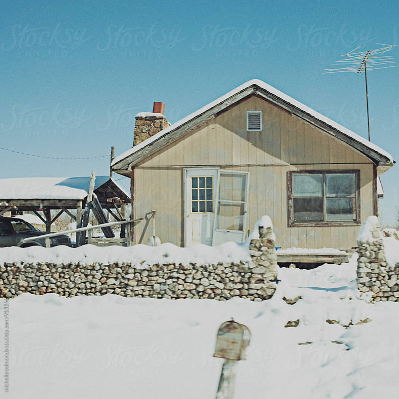 Snowy Rural Houses by michelle edmonds for Stocksy United