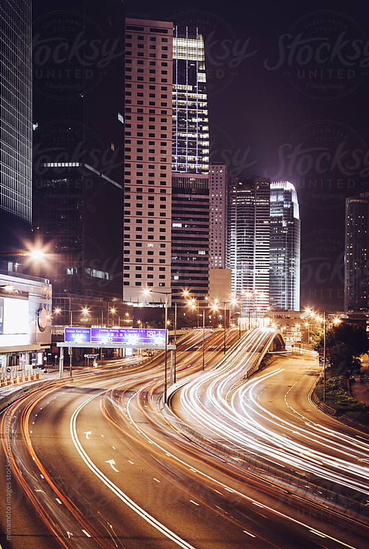 Night Traffic In Hong Kong by minamoto images for Stocksy United
