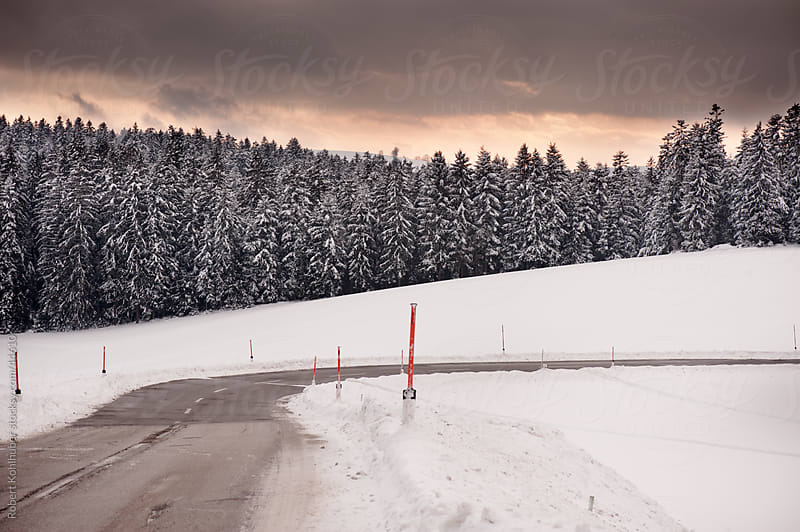 Road in winter landscape by Robert Kohlhuber for Stocksy United