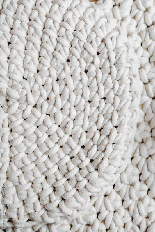 White handmade rope rug by Carey Shaw for Stocksy United