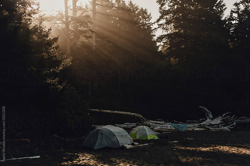 Tents at Dawn on the Beach by Taylor Roades for Stocksy United