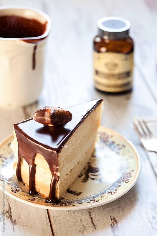 Boston Cream Cake slice by Csenge Dusha for Stocksy United