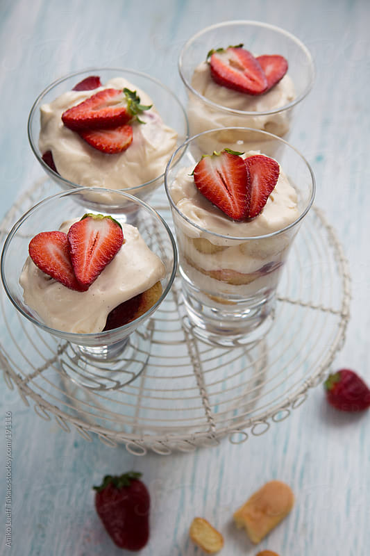 Strawberry Tiramisu in glasses by Aniko Lueff Takacs for Stocksy United