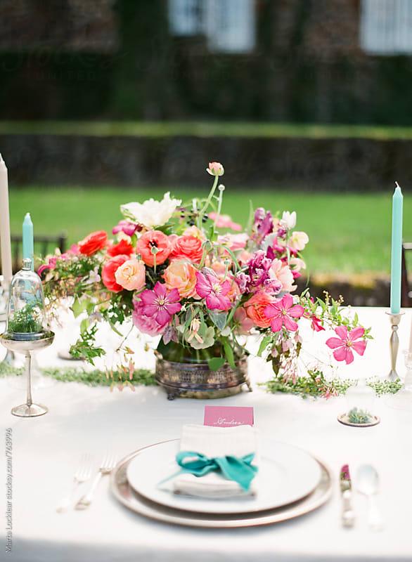 Garden wedding place setting by Marta Locklear for Stocksy United