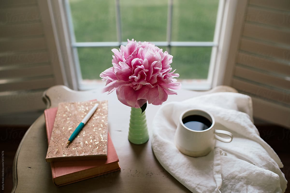 journal, book, coffee, and flower on a desk by Kelly Knox - Coffee, Peony - Stocksy United