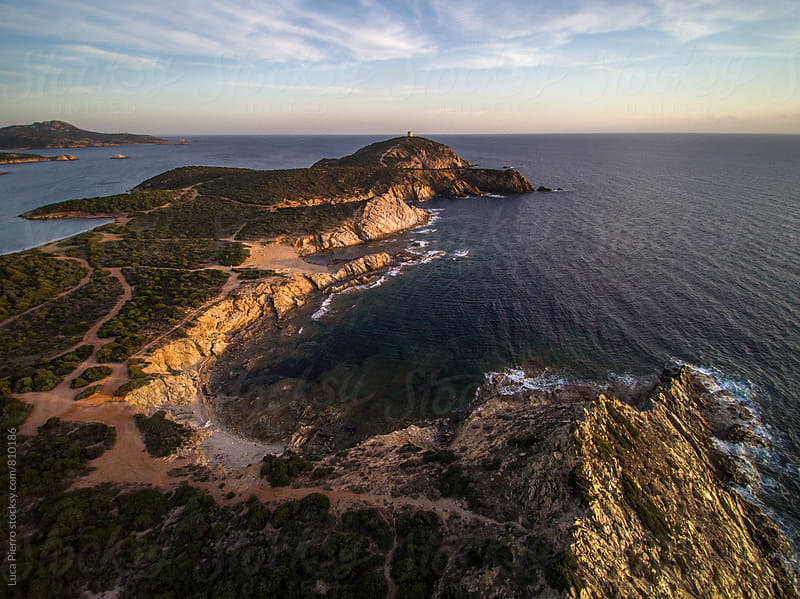 Aerial view of south Sardinian coast by Luca Pierro for Stocksy United