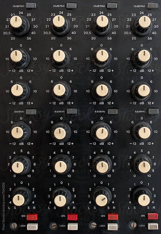 Close up of audio mixer by Pixel Stories for Stocksy United