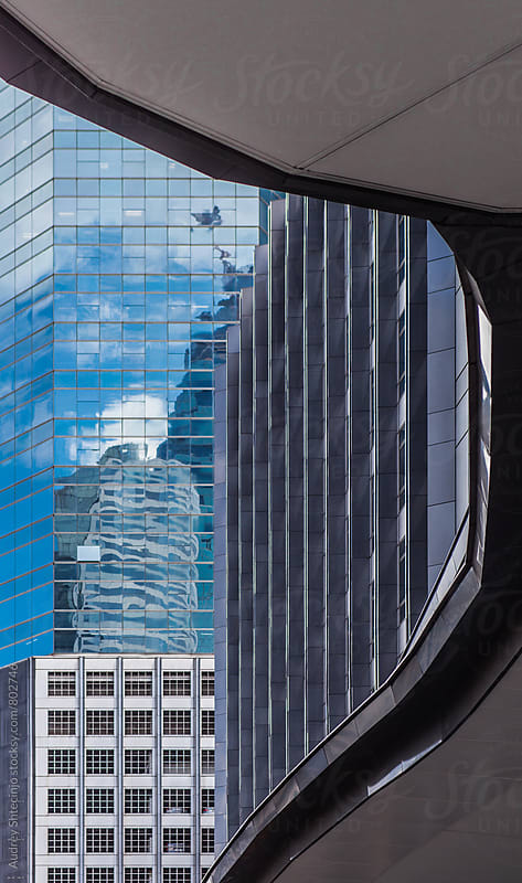 Financial district in Bangkok/various building glass and metal facade patterns by Marko Milanovic for Stocksy United
