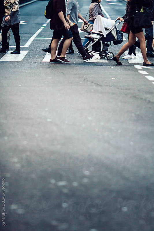 pedestrians, traffic, street, crowd by Igor Madjinca for Stocksy United