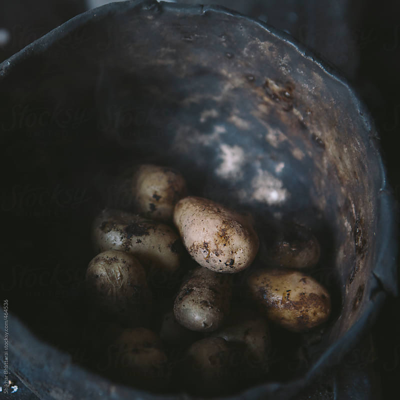 Boiled potatoes in an old metal pot. by Shikhar Bhattarai for Stocksy United