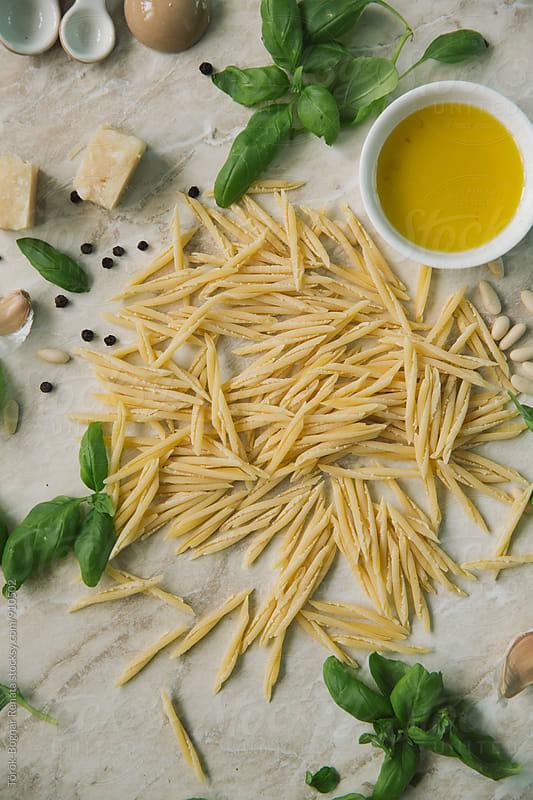 Ingredients of pasta with pesto by Török-Bognár Renáta for Stocksy United