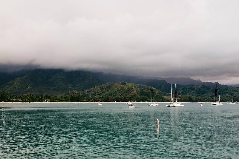 Boats in Hanalei Bay by Ryan Tuttle for Stocksy United