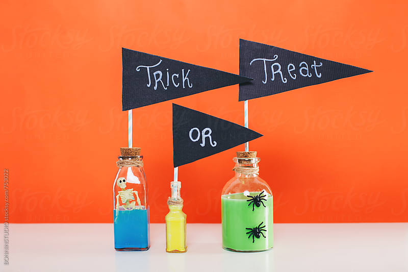 Trick or treat banners. Halloween decor. by BONNINSTUDIO for Stocksy United