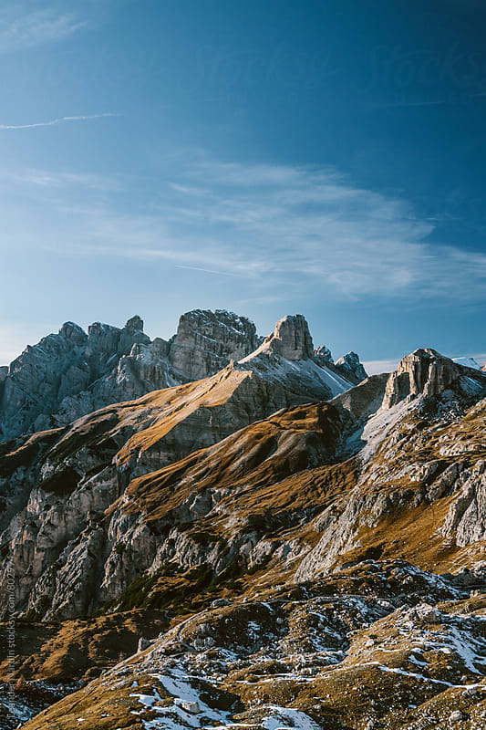 epic landscape in the italian dolomites in autumn by Leander Nardin for Stocksy United