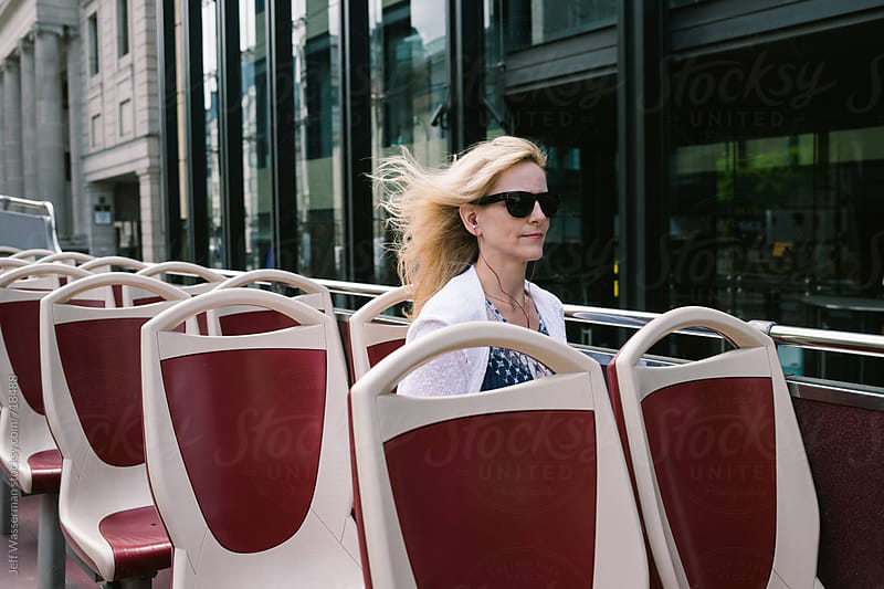 Woman on Double Decker Bus by Jeff Wasserman for Stocksy United