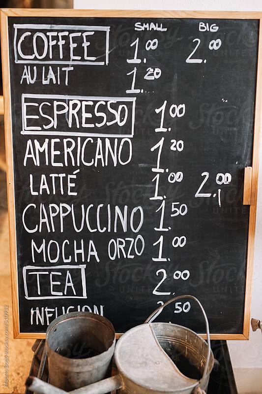 Menu For Coffee On A Blackboard by Alberto Bogo for Stocksy United