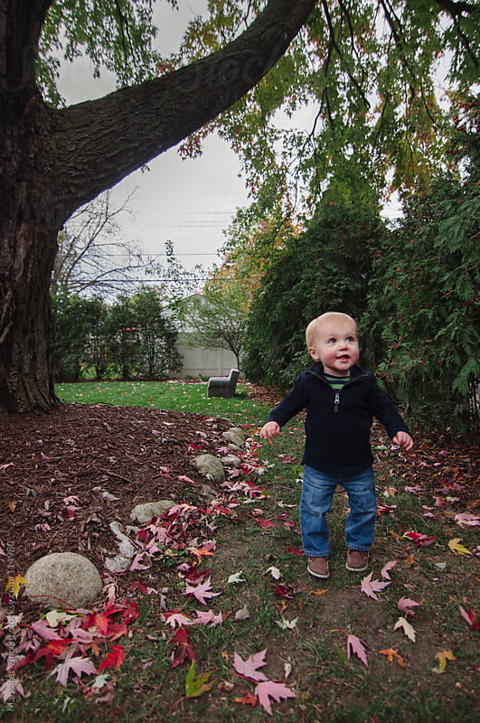 happy boy plays in his backyard by Margaret Vincent for Stocksy United