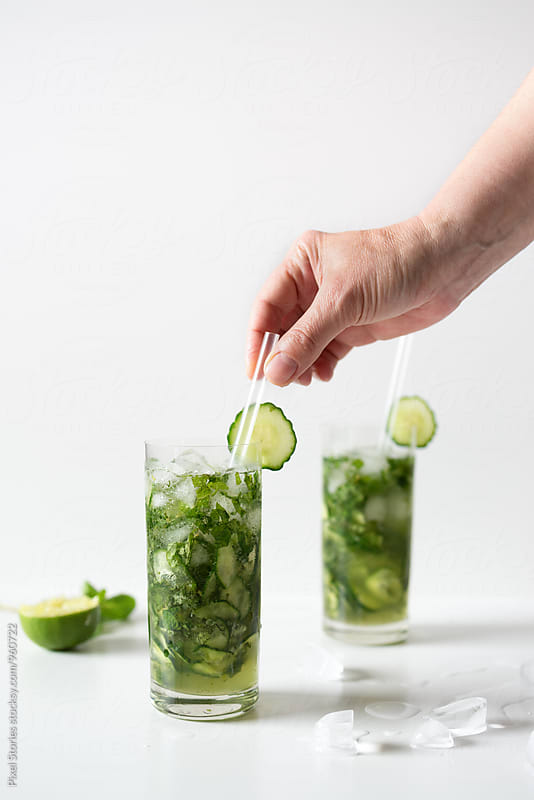 Cucumber-mint mojito by Pixel Stories for Stocksy United