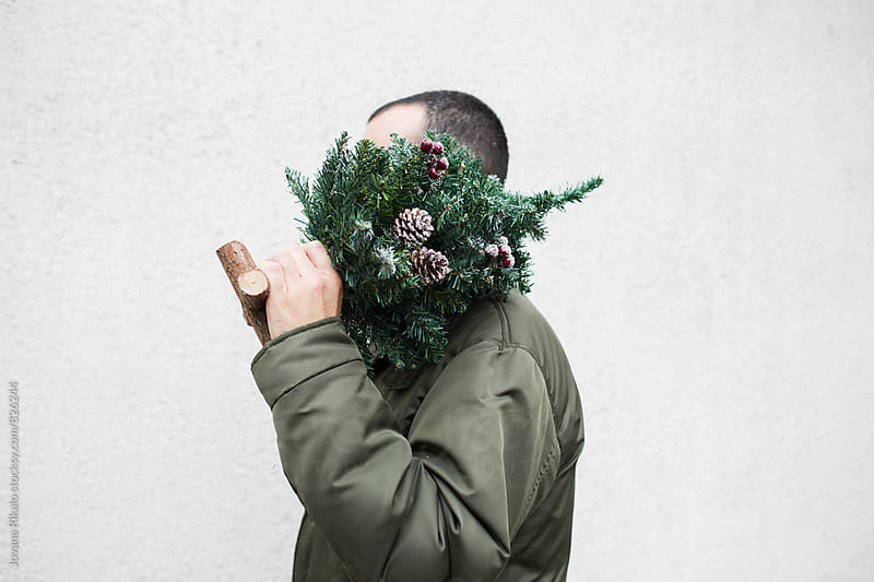 Man holding mini Christmas tree by Jovana Rikalo for Stocksy United